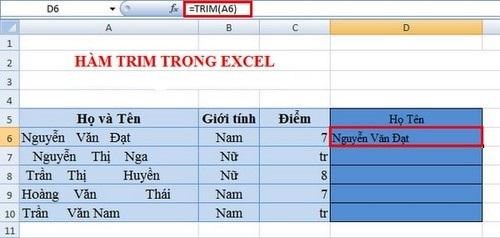 Hàm xóa khoảng trắng dư thừa bỏ khoảng trắng trong Excel