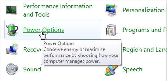 Chọn Power Options trong Control Panel