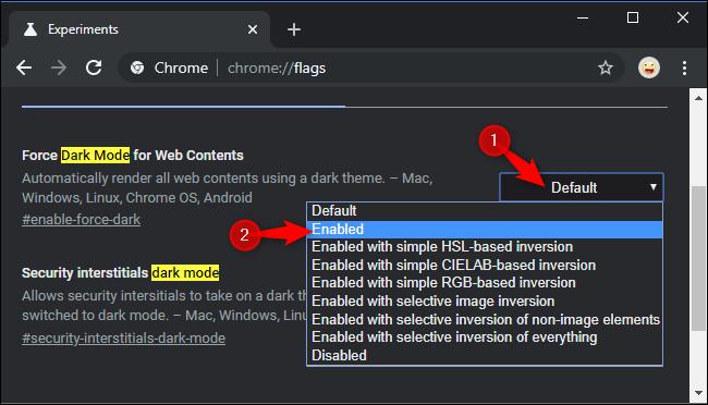 Bật chế độ tối bắt buộc cho trang web trong thử nghiệm của Chrome.