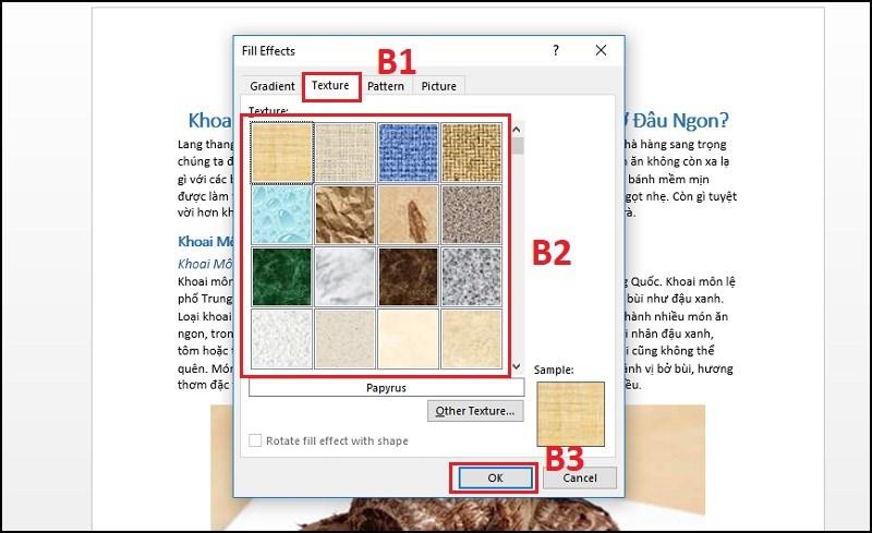 Tại mục Texture chọn 1 hiệu ứng đổ màu