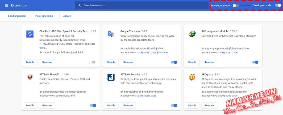 Bật chế độ dành cho nhà phát triển (Develop Mode) trên Chrome